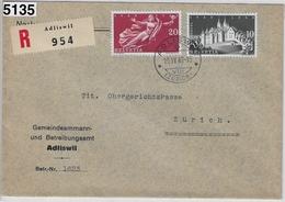 1948 Recommande 282-283/497-498 Adliswil To Zürich - Betreibungsamt 19.IV.48 - Zusammendrucke