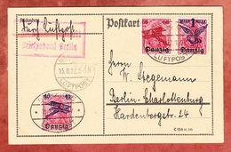 Karte, Luftpost, MiF Aufdruckmarken, Danzig Nach Berlin 1922 (51378) - Danzig