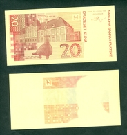 Croatia Banknote Republic 1993 1994 Proof For 20 KUNA Vukovar Vucedol's Dove Kastel Eltz - Croatie