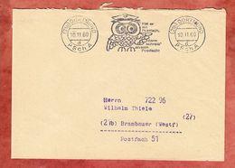 Postsache, Bandstempel Eule Postfach PSchA Dortmund, Nach Brambauer 1960 (51380) - [7] République Fédérale