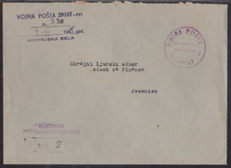 Yugoslavia, Military Mail, Stampless, Registered Cover, Bohinjska Bela, 1948 - Covers & Documents