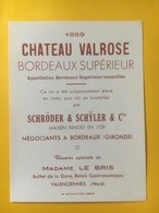 8198 - Château Valrose 1959 Réserve Buffet De La Gare Relais Gastronomique Valenciennes - Bordeaux