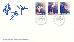 Canada FDC 7-1-1976 Olympic Games Montreal Set Of 3 With Cachet - Ete 1976: Montréal