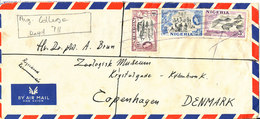 Nigeria Registered Cover Sent To Denmark Ibadan 16-4-1957 Stamps Cancelled With Pencil But Backside With Postmark - Nigeria (...-1960)