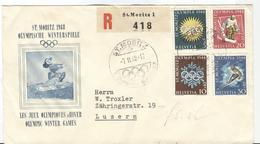 Switzerland Set On Registered Illustrated Olympic Cover With Olympic Cancel From 7.II.48 - Winter 1948: St-Moritz