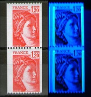 Variété Paire N° 1981B** + 1981Ba**_N° Rouge_Phospho 1 1/4 à Gauche_1/4 à Droite - 1977-81 Sabina Di Gandon