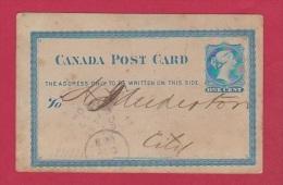 CANADA  //  ENTIER POSTAL  //  DEPART TORONTO - 1860-1899 Regering Van Victoria