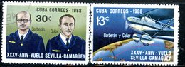 MK140 CUBA 1968 1406-1407 The 35th Anniversary Of The Flight Of Seville-Camagüe By Barberan And The Collar. Aviation - Airplanes