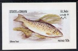 5007 (Marine) Oman 1972 Fish (Gilleroo Trout) Imperf Souvenir Sheet (50b Value) Unmounted Mint - Marine Life