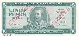 SPECIMEN-MUESTRA BILLETE DE CUBA DE 5 PESOS DEL AÑO 1988 DE ANTONIO MACEO (BANKNOTE) SIN CIRCULAR-UNCIRCULATED - Cuba