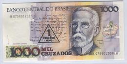 BRAZIL 216b 1989 1 Cruzado Novo Ovpt On 1000 Mil Cruzados UNC - Brazil