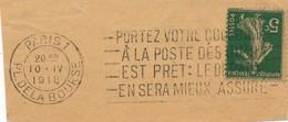 H141 - Marcophilie - Cachet D'essai Place De La Bourse à PARIS 1er - 1918 - Marcophilie (Lettres)