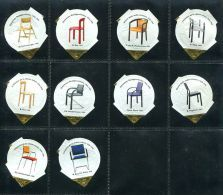 696 - Chaises II - Serie Complete De 10 Opercules Suisse - Milk Tops (Milk Lids)