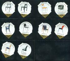 697 - Chaises III - Serie Complete De 10 Opercules Suisse - Milk Tops (Milk Lids)