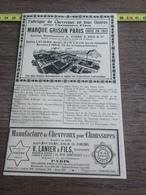 1930 PUBLICITE CHEVREAUX CUIRS EMILE PETRY MARQUE GRISON PARIS SAINT DENIS VANIER FILS - Colecciones