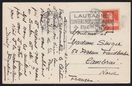 Switzerland (1922) Postcard With Cancel Of Lausanne Conference For Peace. - Postmark Collection