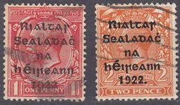 IRLANDA - IRLANDE - GOVERNO PROVVISORIO - 1922 - Lotto Due Valori Obliterati: Yvert  2a E 4b. - 1922 Governo Provvisorio