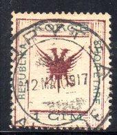 70 490 - ALBANIA 1917 ,  Koritza Yvert  N. 52  Usato  (REPUBLIKA) . Firma Enzo Diena - Albania