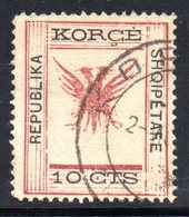 73 490 - ALBANIA 1917 ,  Koritza Yvert  N. 56  Usato  (REPUBLIKA) . Firma Enzo Diena - Albania