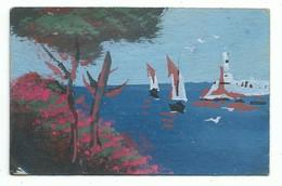 Petite Aquarelle Format 9/14 Cm Sur Carton Semi Rigide Bord De Mer - Aquarel