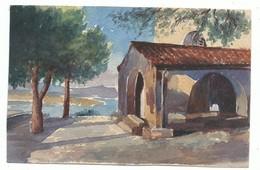Petite Aquarelle Format 9/14 Cm Sur Carton Semi Rigide Bord De Mer Chapelle Provence Cote D' Azur  - Non Signée - Watercolours