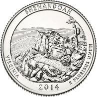 USA. 25 Cents. Quarter. 22nd Park. Shenandoah. UNC. 2014 S - Federal Issues