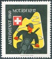 MOTORCYCLE Switzerland 1940 Field Post Military Moto Cycling Motorrad MOT. RDF. KP. 12 Feldpost Schweiz Suisse Vignette - Motorfietsen