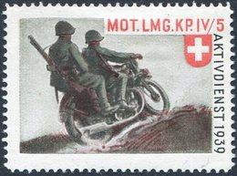 MOTORCYCLE Switzerland 1939 Field Post Military Moto Cycling Motorrad MOT LMG. KP. IV/5 Feldpost Schweiz Suisse Vignette - Motorräder