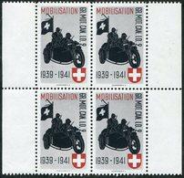 MOTORCYCLE Switzerland 1939-1941 Field Post Military Cycling Motorrad GR.MOT.CAN.LD. 2 Feldpost Schweiz Suisse Vignette - Motorräder