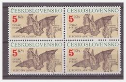 1041 Czechoslovakia 1990 Vleermuizen Bats MNH Block Of 4 - Vleermuizen