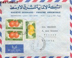 LIBAN BEYROUTH LETTRE CACHET LEBANON BEIRUT SOCIETE GERMANO PROCHE ORIENTALE - Lebanon