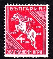 Bulgaria SG 311 1931 Balkan Olympic Games, 4 L Red, Mint Hinged - 1909-45 Kingdom