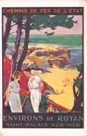 """CHARENTE MARITIME  17   SAINT PALAIS SUR MER  PUBLICITE """"CHEMINS DE FER DE L'ETAT"""" CARTE DESSINEE - ILLUSTRATEUR - Saint-Palais-sur-Mer"""