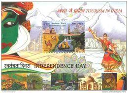 Miniature Sheet Of Tourism In India 2016, Red Fort,Taj Mahal, Lotus Temple, Qutab Minar,Elephant, Tiger, Peacock - Peacocks