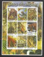 Angola 2000**, Wildkatzen, Kakteen Im KB-Rand, Vignette / Angola 2000, MNH, Wildcats, Cacti On MS Frame, Cinderella - Fantasie Vignetten