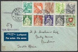 SWITZAERLAND, 10 Colour Franking TERRITERT 18.VIII.39 > S.Africa (Hotel Bristol Montreux-Terriet Stationery) - Switzerland