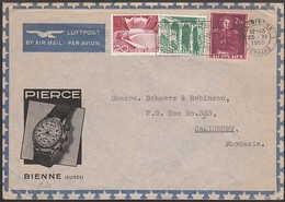 SWITZERLAND, PIERCE (watches) Envelope  3 Colour Franking BIEL (BIENNE) 1 - 25 XI  1950 > Rhodesia - Switzerland