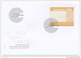SUISSE - Timbre En Bois - 1 Enveloppe FDC - BERNE - 7 Septembre 2004 - FDC