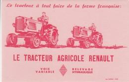 BUVARD TRACTEUR AGRICOLE RENAULT A VOIE VARIABLE  ET RELEVAGE HYDRAULIQUE - Agriculture