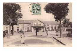 91 Corbeil La Gare Cpa Animée Attelage Cachet Corbeil 1907 - Corbeil Essonnes