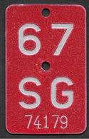Velonummer St. Gallen SG 67 - Number Plates