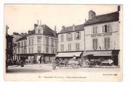 91 Corbeil Place Sainte Léonard Cpa Carte Animée Attelage Boutique Commerce Tabac Vins Liqueurs - Corbeil Essonnes