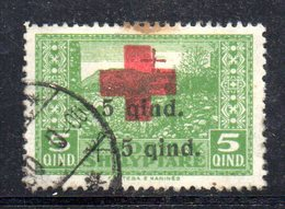 106 - 490 - ALBANIA 1924 , Soprastampato Yvert N. 140  Usato.Punto Di Colore - Albania