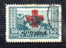 107 - 490 - ALBANIA 1924 , Soprastampato Yvert N. 143  Usato.Punto Di Colore - Albania