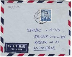 M245 Belgium Lettre Par Avion VAL St LAMBERT To Abony Hungary 1957 - Postmarks - Points