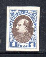 112 - 490 - ALBANIA 1925 , Zogou : Yvert N. 176A * NON Emesso NON Dentellato - Albania