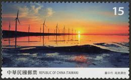 Rep China Gaomei Wetlands-2018 Taiwan Scenery -Taichung Stamp Sea Windmill Sunset - China