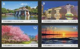 Rep China 2018 Taiwan Scenery -Taichung Stamps Lake Park Bridge Theater Music Wine Farm Maple Wetland Windmill Sunset - China