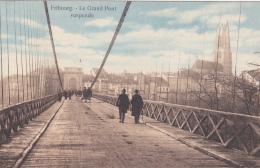 Fribourg  : Le Grand Pont Suspendu Vu Du Haut, Carte Animée Oblitérée Du Cachet Militaire Bataillon 18 - FR Fribourg