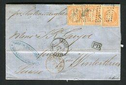 Rare Lettre Du BFE D'Alexandrie Pour Winterthur ( Suisse 1866 ) Avec Trois N° 23 - Cachet GC 5080 - 1862 Napoléon III